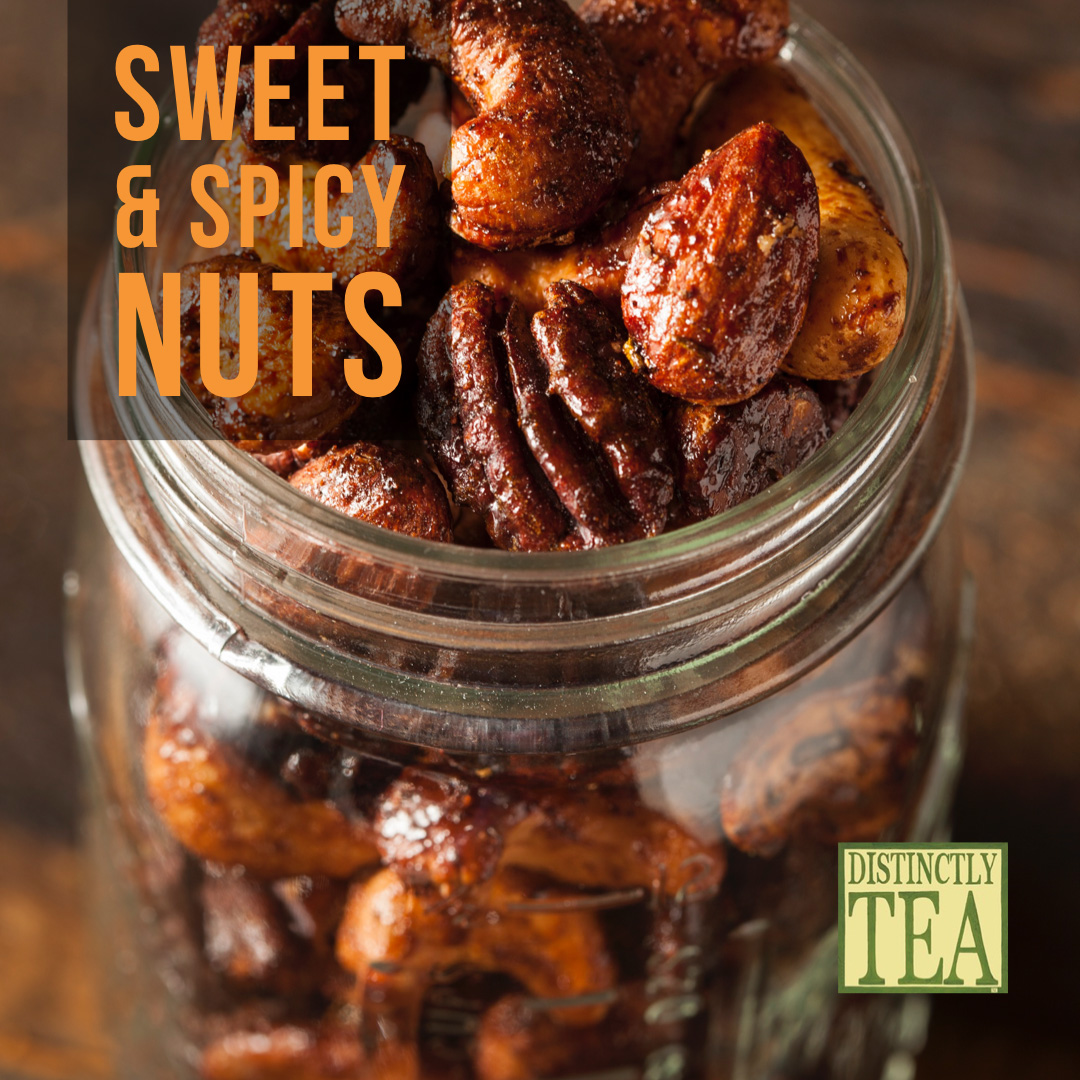 Party Snacks sweet and spicy nut recipe from distinctly tea inc